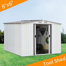 8'x6' Garden Shed Tool Storage Outdoor Patio Bakyard Metal Steel Utility White