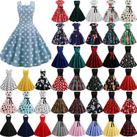 Womens Vintage 50S 60S Swing Dress Evening Party Prom Cocktail Pinup Dresses