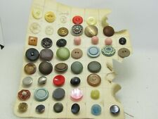 """Vintage 46 Button Lot, 1"""" and under, Round Square, Clear, 1920's-1950's,"""