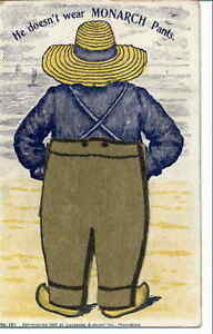 Livermore & Knight Farmer Monarch Pants Missing Inset Mechanical 1897 Postcard