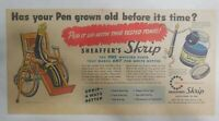 Sheaffer's Skrip Ink Ad: Has Your Pen Grown Old? from 1949 Size: 7.5 x 15 inches