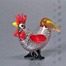 Belle statuette coq fait main de verre coloré  Longueur 5,5 cm. Beau des cadeaux
