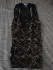 WOMEN'S GOLD LINED BLACK LACE TOP One Size Fits Most by SOHO GIRLS Used NICE!!