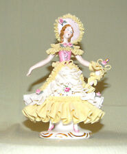 ANTIQUE DRESDEN Figurine Lady in Yellow Dress with Hat and Umbrella German