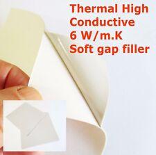 Thermal High Conductive 6 W/m.K Silicone Pad 100*100*1mm Adhesive CPU IC GPU