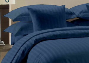 Navy Blue Striped Attached Waterbed Sheet Egyptian Cotton Queen/King/Cal.King