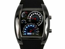 NEW Muchbuy RPM Sports Turbo Blue & White Flash LED Car Max Speed Meter Watch