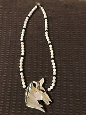Lee Sands Necklace Unicorn Horse Abalone Mother Of Pearl Hawaii. New In Box.