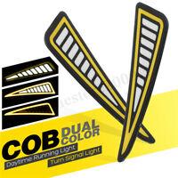 2x COB LED DRL Feux de Jour Phare Diurne Clignotant Lumière Blanc+Jaune Voiture