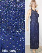 Hannah Lynn Blue Silk Iridescent Sequin Flowerette Halter Formal Evening Dress M