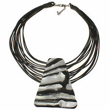 Tribal large silver painted buffalo horn pendant cord choker necklace jewellery