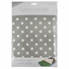 Trimits Quilter's Multi-Mat - Grey Linen Polka Dot - Cutting Mat