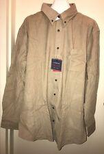 CROFT & BARROW Men's Big & Tall Solid Corduroy Button-Down Shirt STONE 4XB NWT