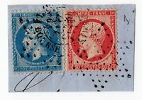 rare timbres sur fragments yet n° 22 et n°24 rose rouge cachet étoile rare stamp