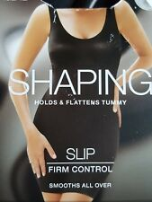 NEW M&S SHAPING HOLDS & FLATTENS TUMMY SMOOTHING FIRM CONTROL SLIP 22 IN BLACK