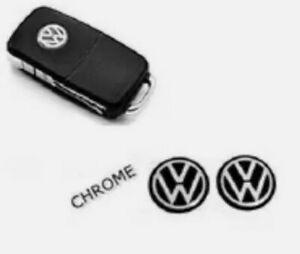 2x VW Schlüssel Key ALU Emblem Logo Aufkleber 14mm Durchmesser Schwarz