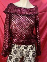 Women's Vintage Partique New York Size 8 Off The Shoulder Pink Sequin Top