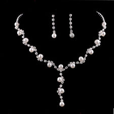 BRIDAL WEDDING PARTY JEWELRY CRYSTAL DIAMANTE TWISTED NECKLACE EARRINGS SET