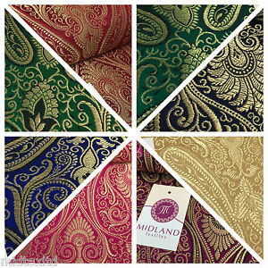 Ornamental paisley gold metallic print Indian banarsi Brocade fabric M246 Mtex