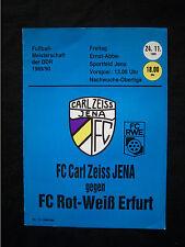 Orig.PRG   DDR Oberliga 1989/90   FC CARL ZEISS JENA - FC ROT WEISS ERFURT  !!