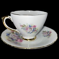 "Vintage Delphine Bone China England Cup And Saucer Set Flower 2.5""T"