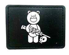 """Sniper Bear"" Logo Paintball Airsoft PVC Velcro Patch (Black / White)"