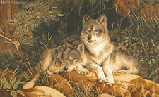 WALL JACQ. WOVEN TAPESTRY Soulmates - Fanning Art WILD LIFE WOLF ANIMAL PICTURE