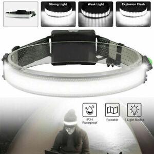 Waterproof Wide Beam Headlamp Flashlight USB LED Camping Bar Head Lamp Torch