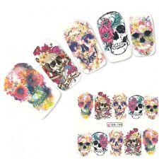 Adesivo Per Unghie Nail Art Tattoo Teschio Fiori Adesivi