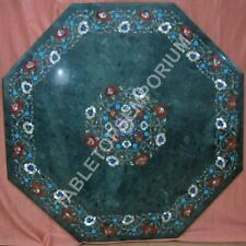 """36"""" Green Marble Dining Center Table Top Inlay Floral Art Furniture Decor E1391"""