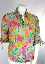 Caviar Women Blouse Large Multicolor Ruffle Button Front Sheer Crinkle Art Shirt