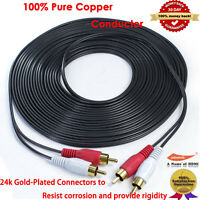 PREMIUM 25-Feet Audio Stereo Cable 22AWG Gold Plated 2 RCA M/M Plug Cable 25FT