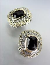 GORGEOUS Designer Style Balinese Silver Gold Black Onyx CZ Crystal Earrings