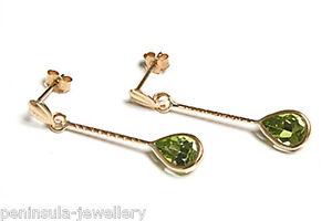 9ct Gold Peridot Teardrop Earrings Made in UK Gift Boxed Birthday Gift
