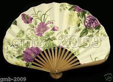 Chinese Japanese Hand Held Purple Peony Flower Silk Bamboo Folding SensuFan