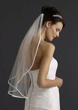 3v Bridal 1t Ivory Waist Length Tulle Satin Edged Wedding Veil w/ Comb