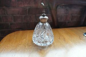 ANTIQUE CUT GLASS STERLING SILVER TOPPED PERFUME PUMP BOTTLE LARGE