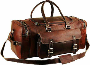 "30"" Men's Genuine Leather Large Vintage Duffel Travel Gym Weekend Overnight Bag"