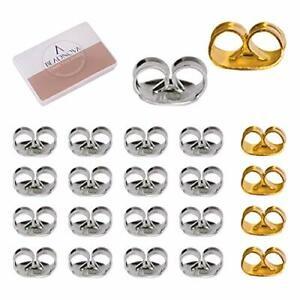 BEADNOVA Silver Gold Earring Backs s Stainless Steel Earring Backings Pierced Ea