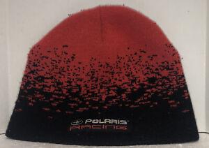 Pure Polaris Racing Red & Black  Knit Beanie Winter Hat Cap Snowmobiling Quads