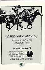 Racecard - Nottingham 8th July 1989 Charity Race Meeting