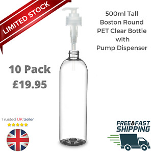 500ml Tall Boston Clear PET Bottle Liquid Lotion Clear Pump Dispenser 10 Pack