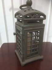 Cast Iron Floor/Hanging Candle Holder Lantern with Hinged Door