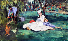 The Monet Family in Their Garden at Argenteuil A2 by Edouard Manet Canvas Print