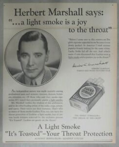 Lucky Strike Ad: Herbert Marshall from 1937 Size: 10 x 12 inches