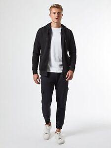 BURTON MENSWEAR LONDON Mens Black Zip Through Hoodie Sweatshirt Jumper Pullover