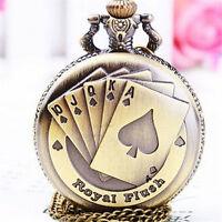Vintage Playing Poker Cards Shape Quartz Pocket Watch Chain Pendant Necklace