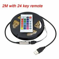 SMD5050 2M RGB Waterproof USB LED Strip Light 24 Remote TV Background Lighting