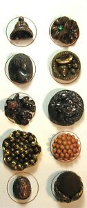 Card of 10 Vintage British Butterscotch Bakelite Buttons Bell Flowers Profiles