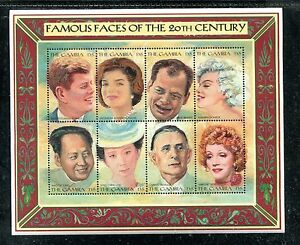 GAMBIA 1805, 1996 FAMOUS FACES, SHEET OF 8, MNH (GAM001)